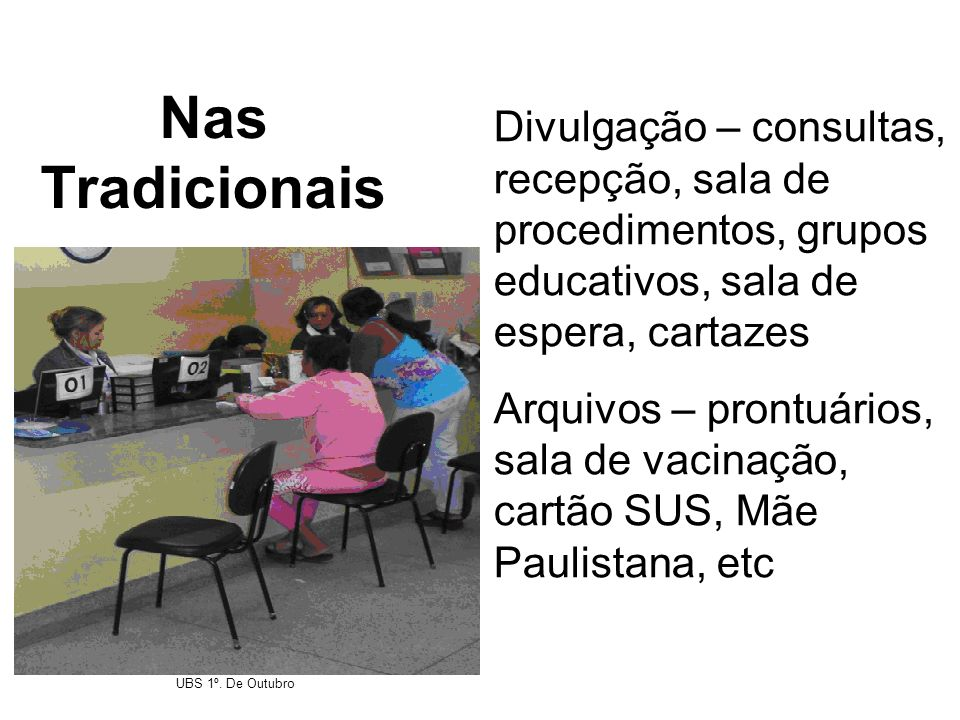 Nas Tradicionais Divulgação – consultas, recepção, sala de procedimentos, grupos educativos, sala de espera, cartazes.