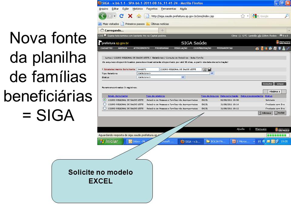 Nova fonte da planilha de famílias beneficiárias = SIGA