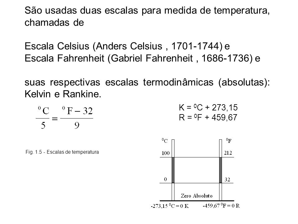 Fig. 1.5 - Escalas de temperatura