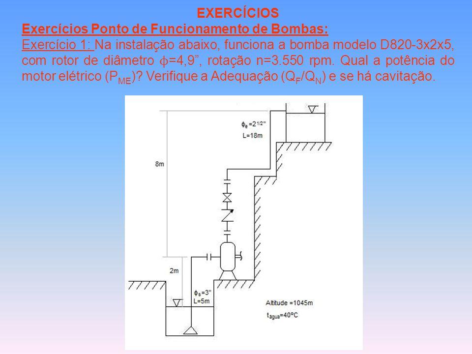 EXERCÍCIOS Exercícios Ponto de Funcionamento de Bombas: