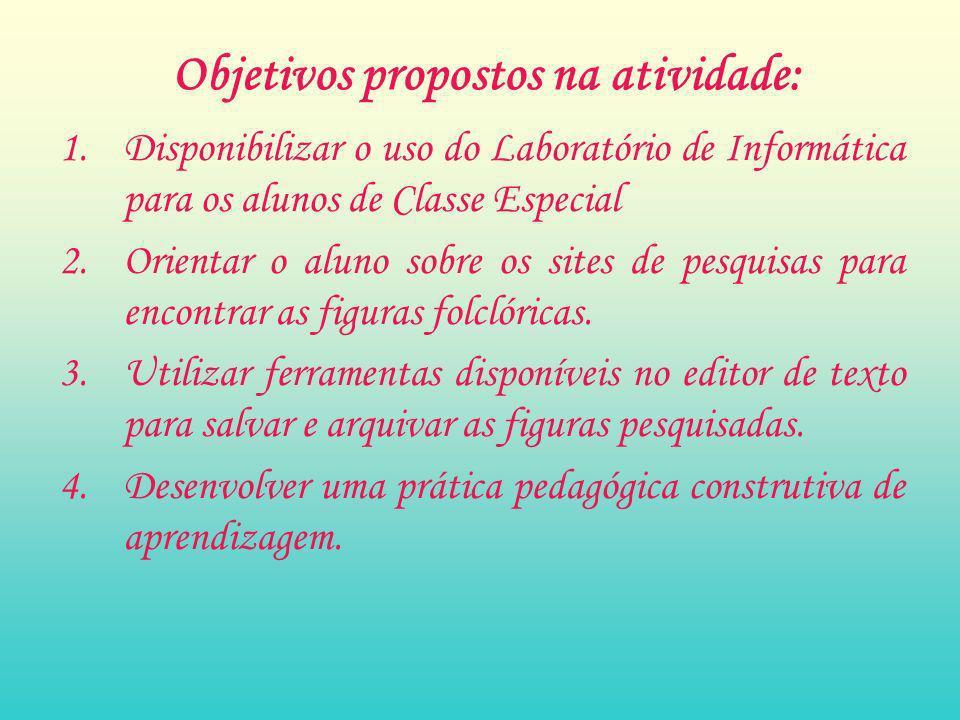 Objetivos propostos na atividade: