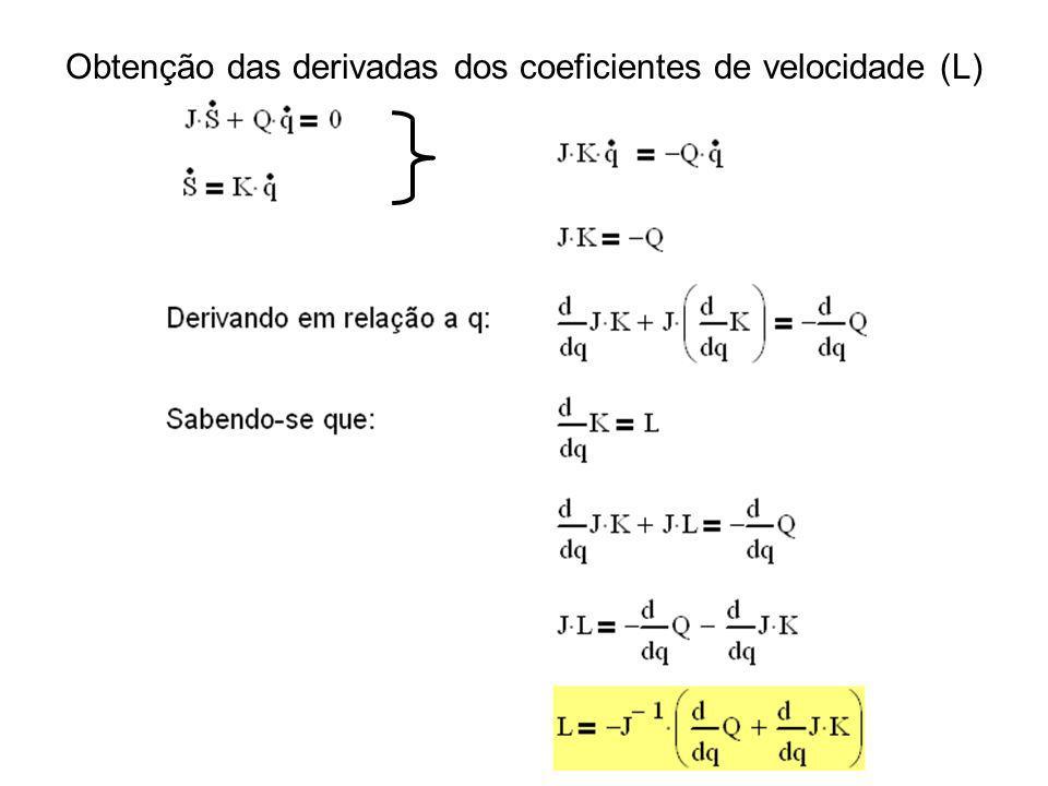 Obtenção das derivadas dos coeficientes de velocidade (L)