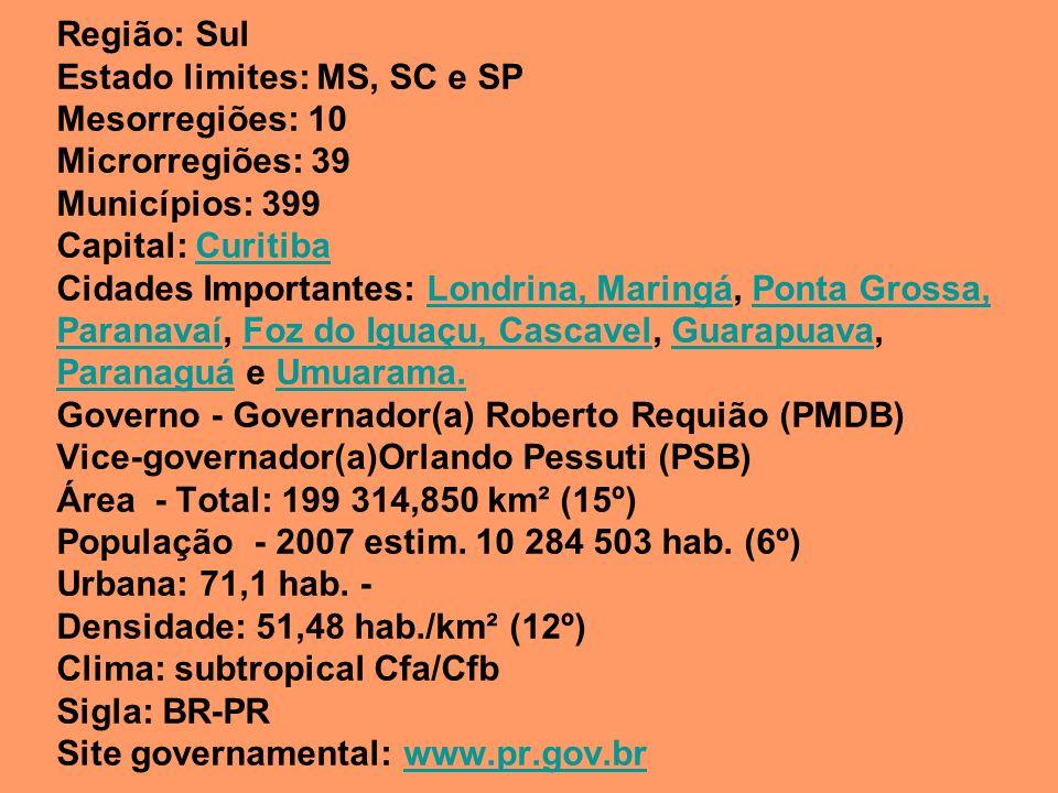 Região: Sul Estado limites: MS, SC e SP Mesorregiões: 10 Microrregiões: 39 Municípios: 399 Capital: Curitiba Cidades Importantes: Londrina, Maringá, Ponta Grossa, Paranavaí, Foz do Iguaçu, Cascavel, Guarapuava, Paranaguá e Umuarama.