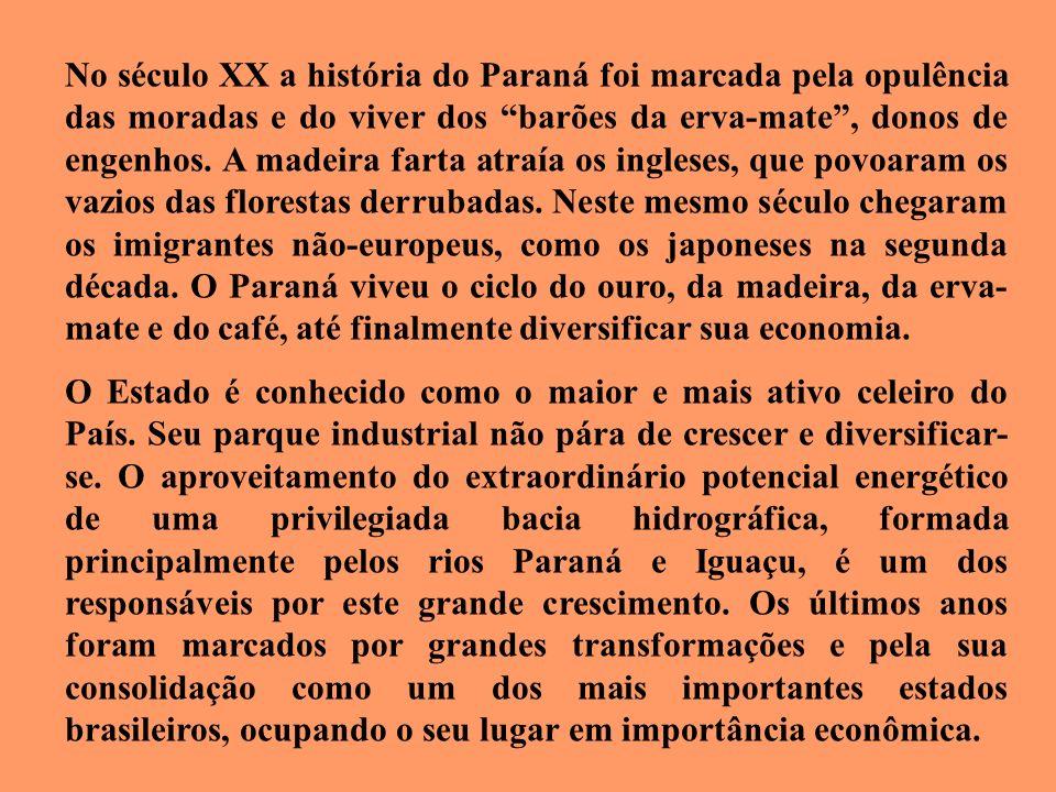 No século XX a história do Paraná foi marcada pela opulência das moradas e do viver dos barões da erva-mate , donos de engenhos. A madeira farta atraía os ingleses, que povoaram os vazios das florestas derrubadas. Neste mesmo século chegaram os imigrantes não-europeus, como os japoneses na segunda década. O Paraná viveu o ciclo do ouro, da madeira, da erva-mate e do café, até finalmente diversificar sua economia.