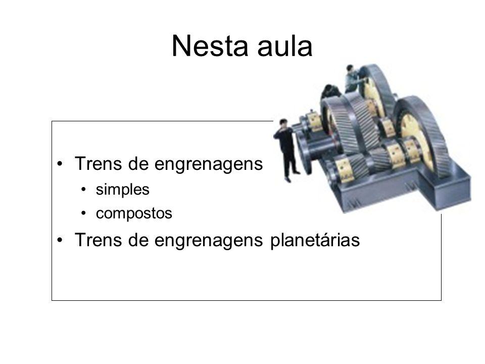 Nesta aula Trens de engrenagens Trens de engrenagens planetárias