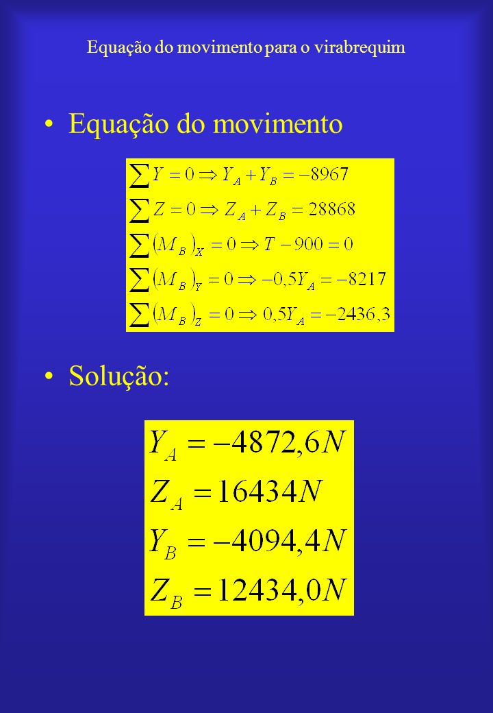 Equação do movimento para o virabrequim