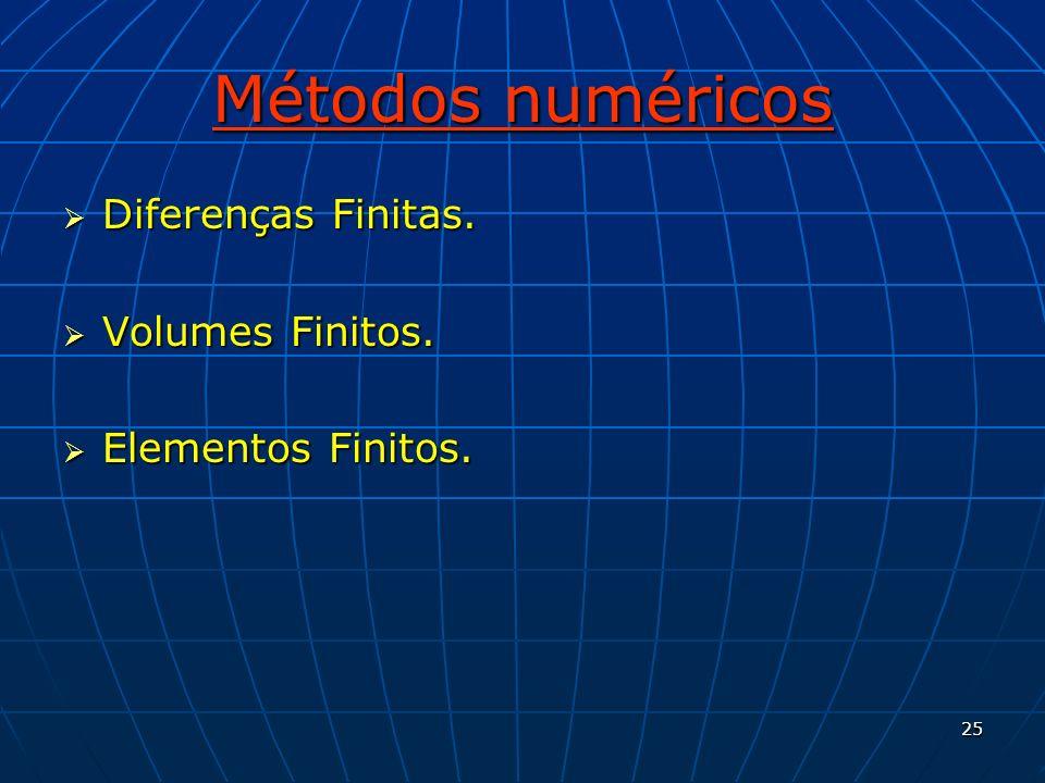 Métodos numéricos Diferenças Finitas. Volumes Finitos.