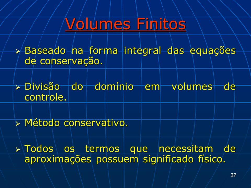 Volumes Finitos Baseado na forma integral das equações de conservação.