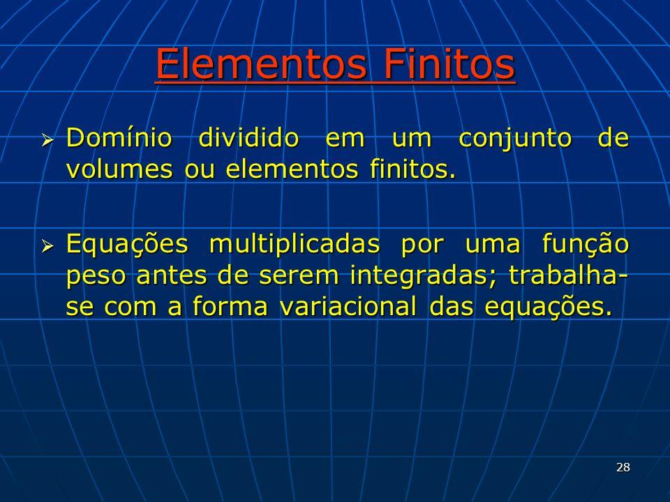 Elementos Finitos Domínio dividido em um conjunto de volumes ou elementos finitos.
