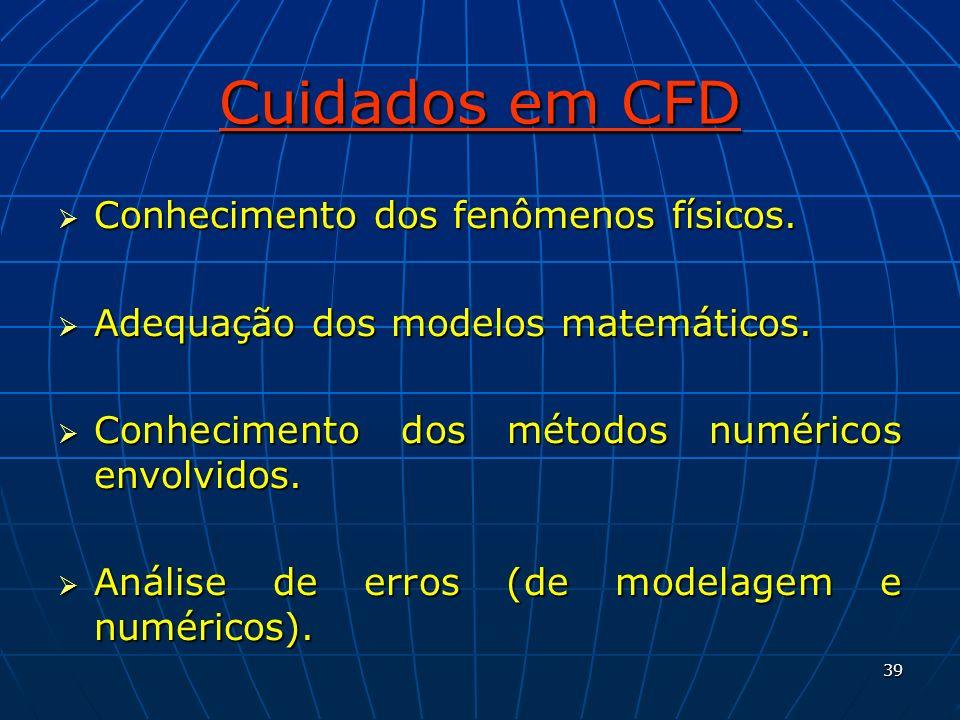 Cuidados em CFD Conhecimento dos fenômenos físicos.