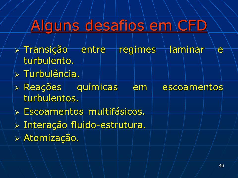 Alguns desafios em CFD Transição entre regimes laminar e turbulento.
