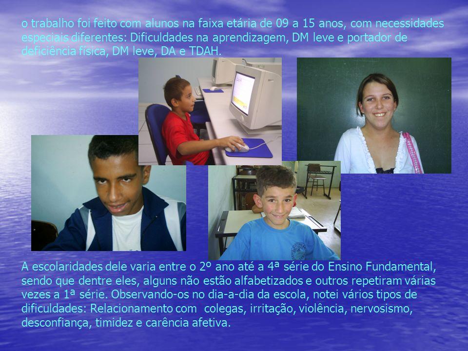 o trabalho foi feito com alunos na faixa etária de 09 a 15 anos, com necessidades especiais diferentes: Dificuldades na aprendizagem, DM leve e portador de deficiência física, DM leve, DA e TDAH.