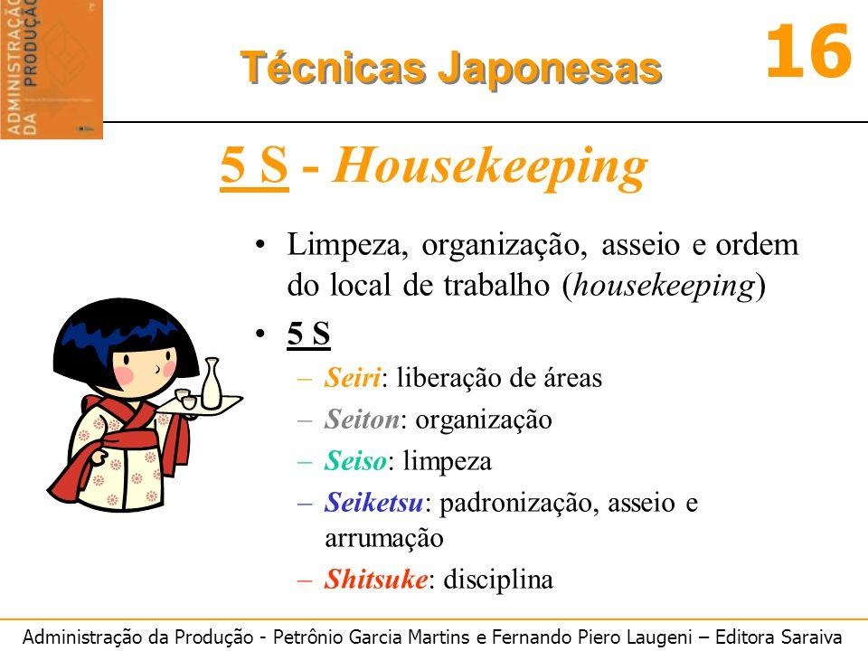 5 S - Housekeeping Limpeza, organização, asseio e ordem do local de trabalho (housekeeping) 5 S. Seiri: liberação de áreas.