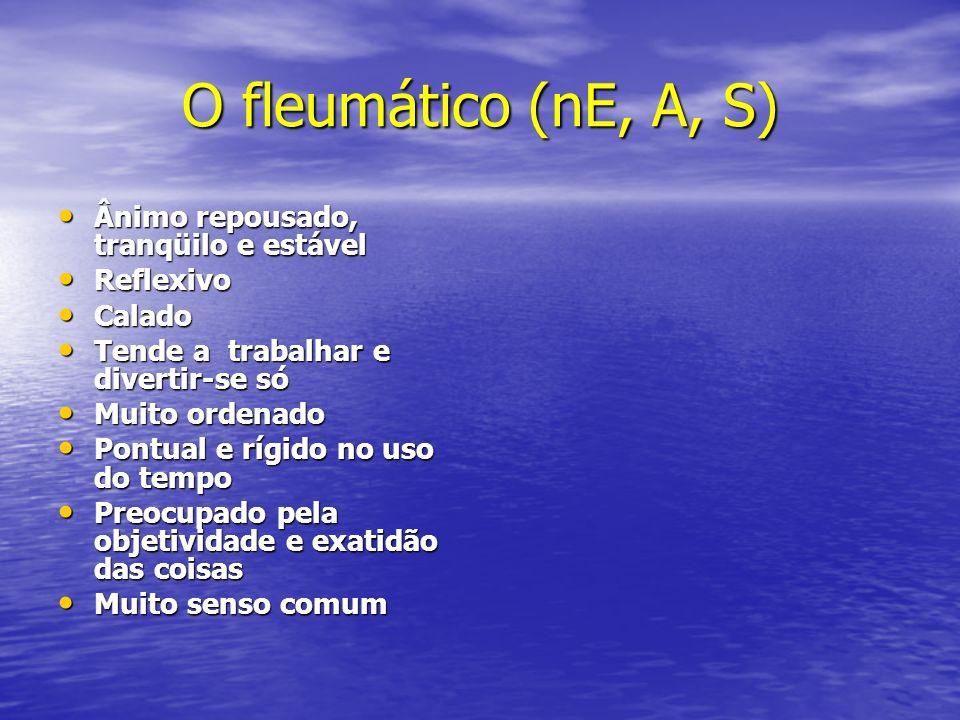 O fleumático (nE, A, S) Ânimo repousado, tranqüilo e estável Reflexivo