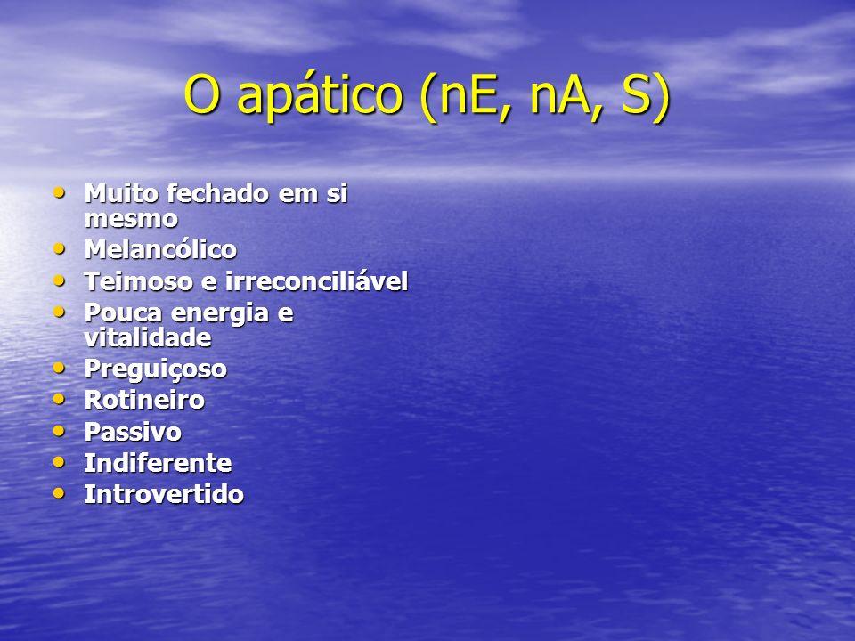O apático (nE, nA, S) Muito fechado em si mesmo Melancólico