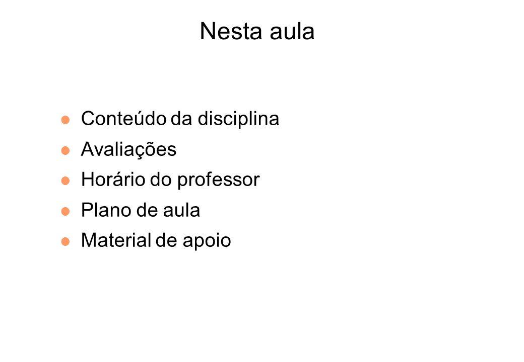 Nesta aula Conteúdo da disciplina Avaliações Horário do professor