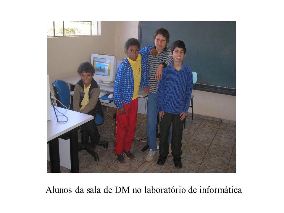 Alunos da sala de DM no laboratório de informática