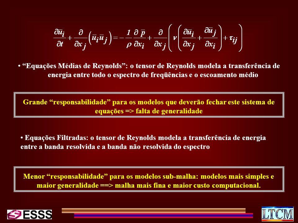 Equações Médias de Reynolds : o tensor de Reynolds modela a transferência de energia entre todo o espectro de freqüências e o escoamento médio
