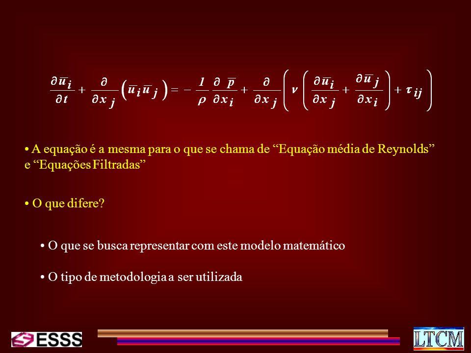 A equação é a mesma para o que se chama de Equação média de Reynolds e Equações Filtradas