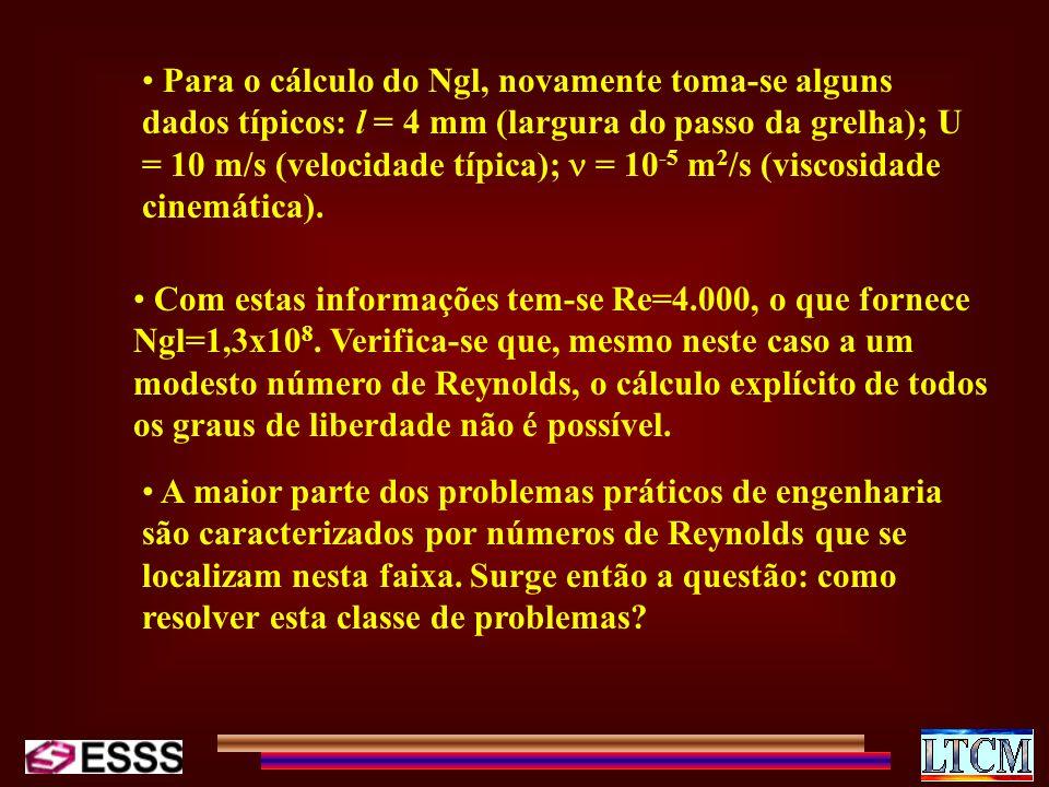 Para o cálculo do Ngl, novamente toma-se alguns dados típicos: l = 4 mm (largura do passo da grelha); U = 10 m/s (velocidade típica);  = 10-5 m2/s (viscosidade cinemática).