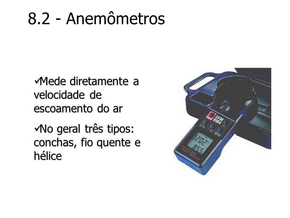 8.2 - Anemômetros Mede diretamente a velocidade de escoamento do ar