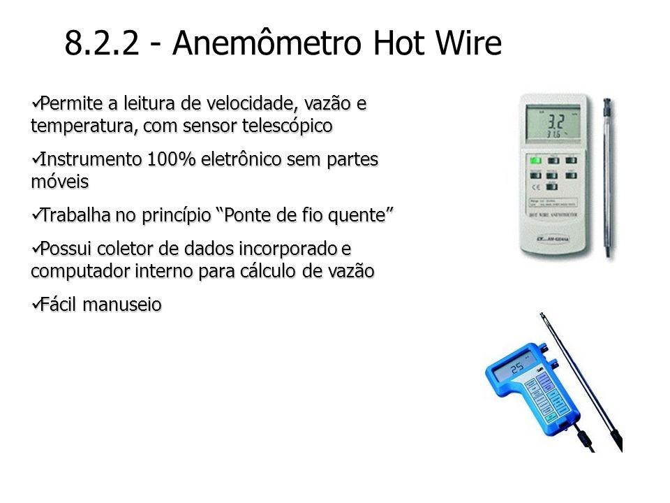 8.2.2 - Anemômetro Hot Wire Permite a leitura de velocidade, vazão e temperatura, com sensor telescópico.