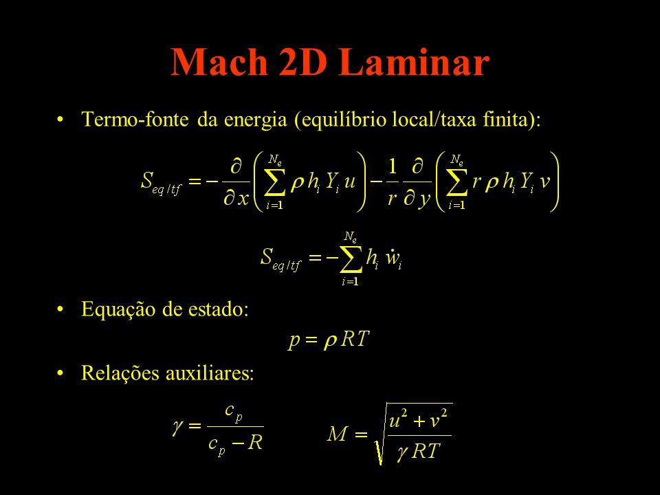 Mach 2D Laminar Termo-fonte da energia (equilíbrio local/taxa finita):