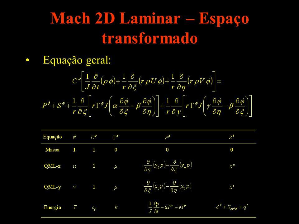 Mach 2D Laminar – Espaço transformado