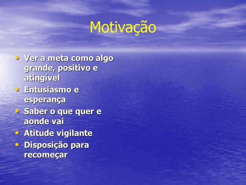 Motivação Ver a meta como algo grande, positivo e atingível