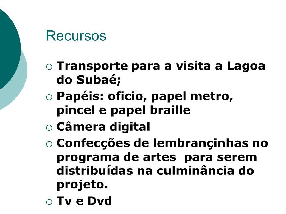 Recursos Transporte para a visita a Lagoa do Subaé;
