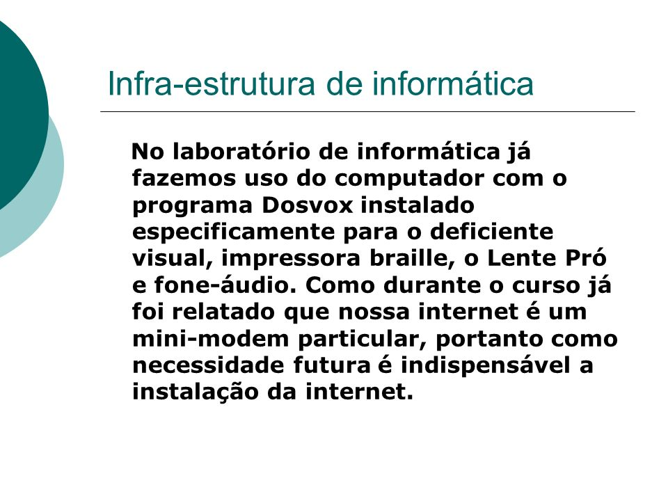 Infra-estrutura de informática