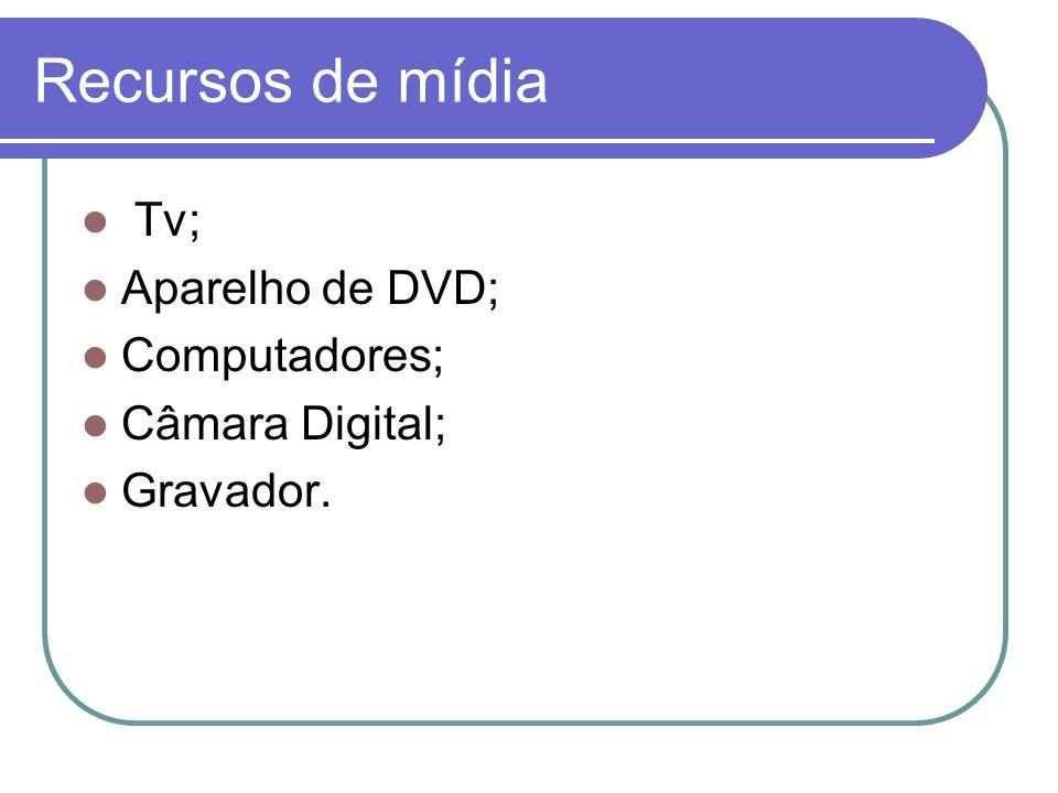 Recursos de mídia Tv; Aparelho de DVD; Computadores; Câmara Digital;
