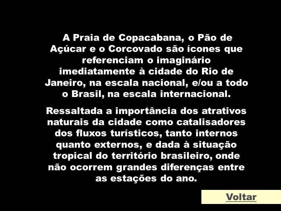 A Praia de Copacabana, o Pão de Açúcar e o Corcovado são ícones que referenciam o imaginário imediatamente à cidade do Rio de Janeiro, na escala nacional, e/ou a todo o Brasil, na escala internacional.