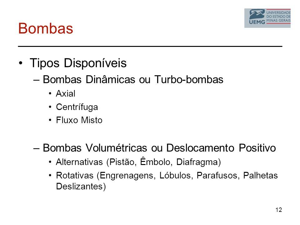Bombas Tipos Disponíveis Bombas Dinâmicas ou Turbo-bombas