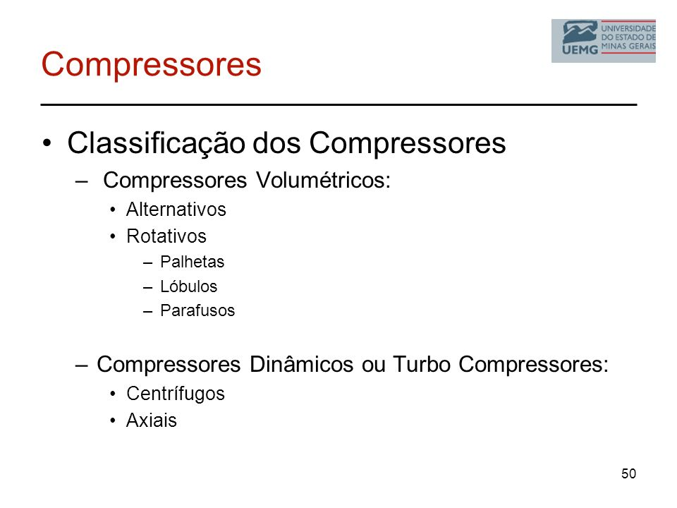 Compressores Classificação dos Compressores Compressores Volumétricos: