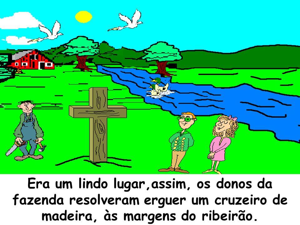 Era um lindo lugar,assim, os donos da fazenda resolveram erguer um cruzeiro de madeira, às margens do ribeirão.