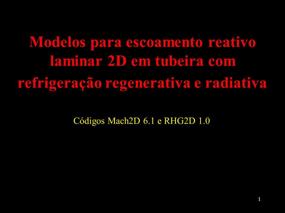 Modelos para escoamento reativo laminar 2D em tubeira com refrigeração regenerativa e radiativa