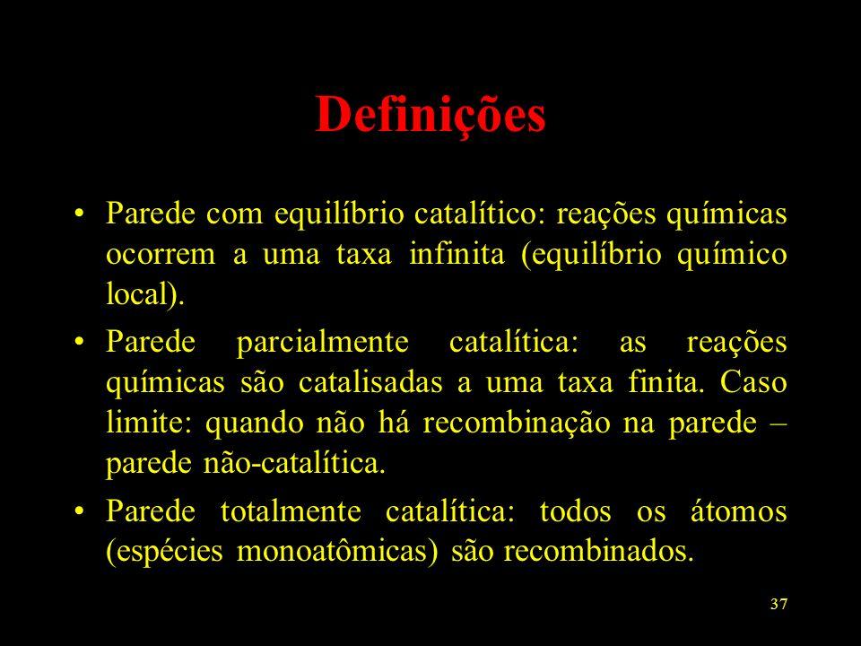 Definições Parede com equilíbrio catalítico: reações químicas ocorrem a uma taxa infinita (equilíbrio químico local).