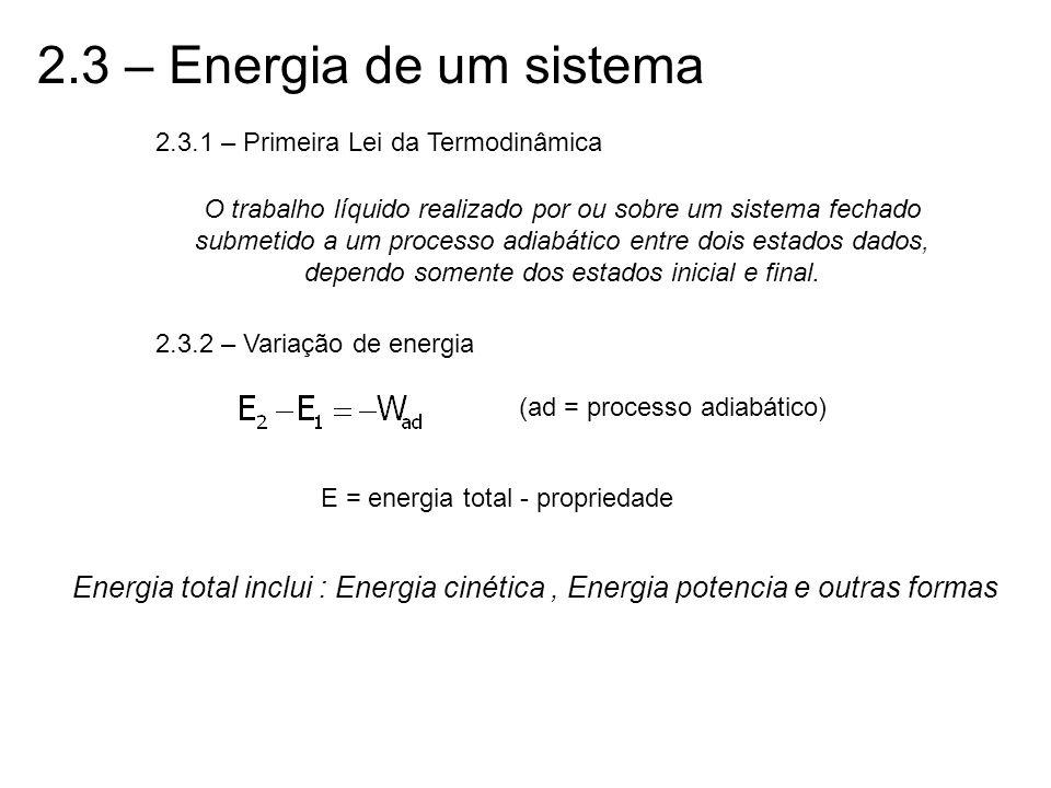2.3 – Energia de um sistema 2.3.1 – Primeira Lei da Termodinâmica.