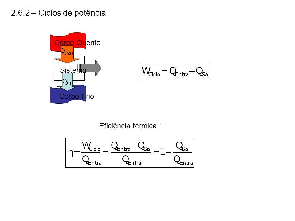 2.6.2 – Ciclos de potência Corpo Quente Sistema Corpo Frio