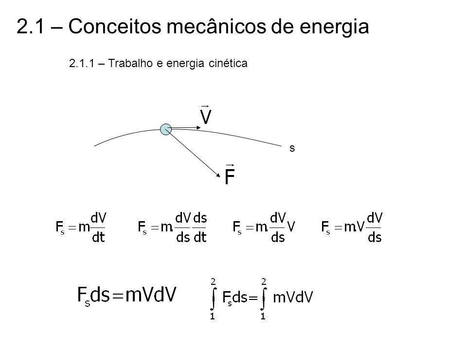 2.1 – Conceitos mecânicos de energia