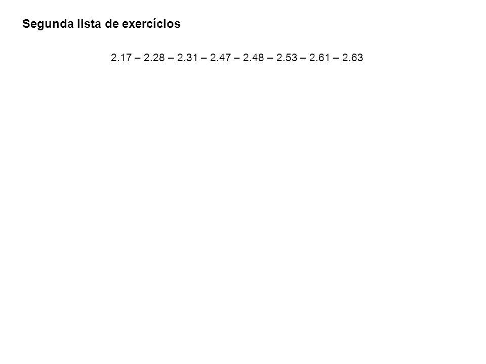 Segunda lista de exercícios