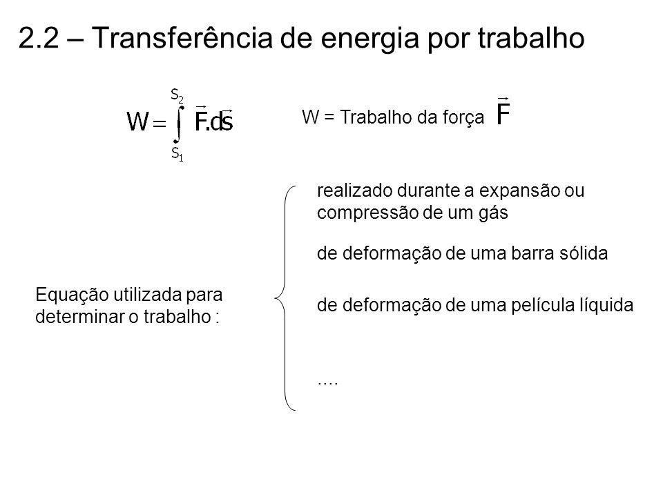 2.2 – Transferência de energia por trabalho