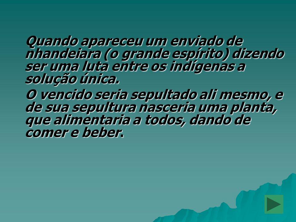 Quando apareceu um enviado de nhandeiara (o grande espírito) dizendo ser uma luta entre os indígenas a solução única.
