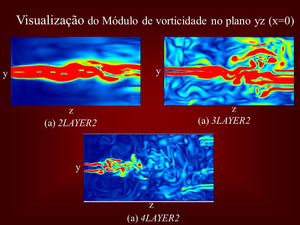 Visualização do Módulo de vorticidade no plano yz (x=0)