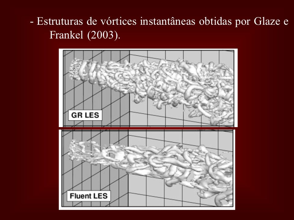 - Estruturas de vórtices instantâneas obtidas por Glaze e Frankel (2003).