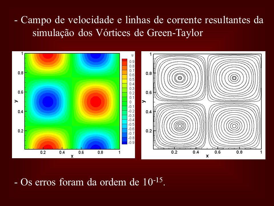 - Campo de velocidade e linhas de corrente resultantes da simulação dos Vórtices de Green-Taylor