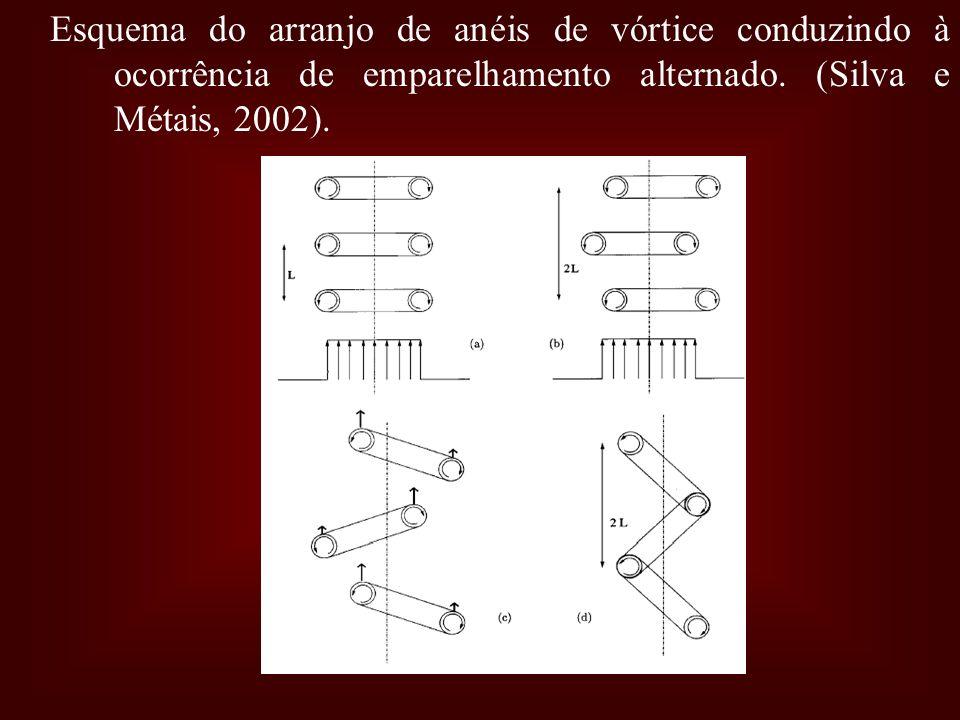 Esquema do arranjo de anéis de vórtice conduzindo à ocorrência de emparelhamento alternado.