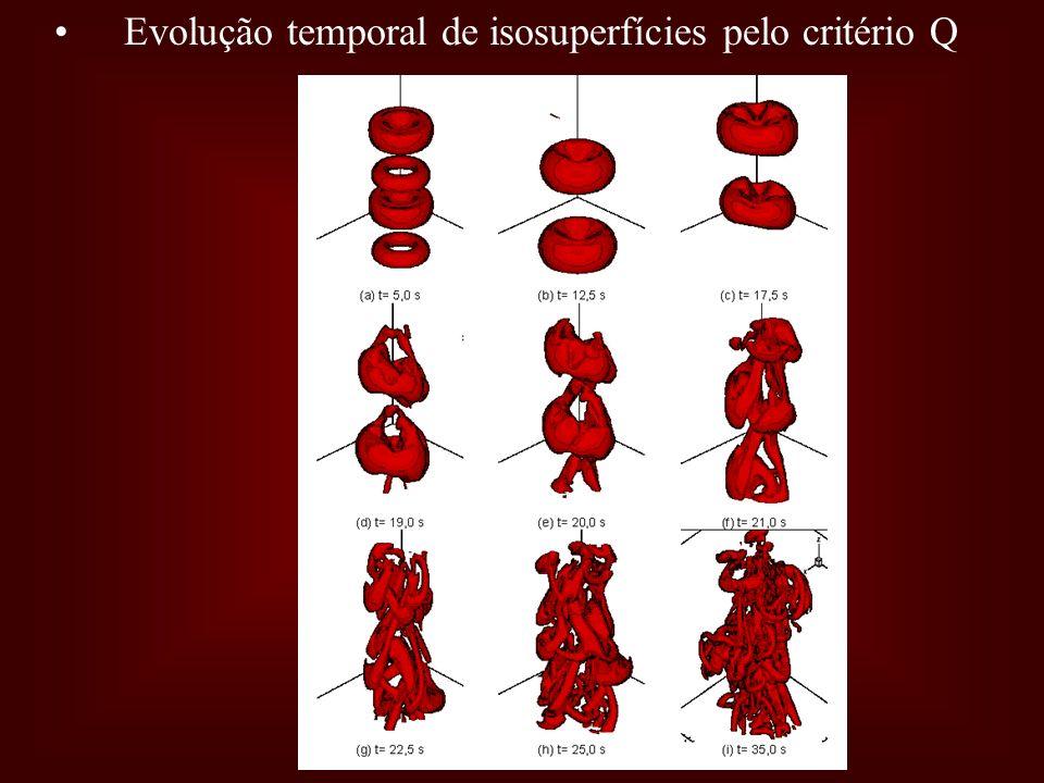 Evolução temporal de isosuperfícies pelo critério Q