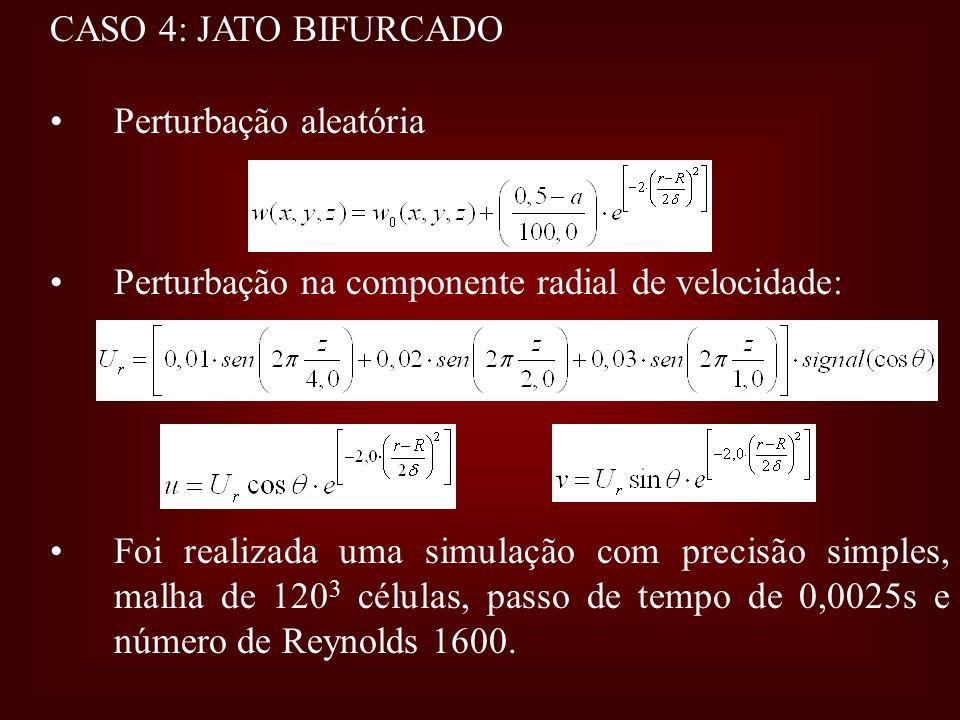CASO 4: JATO BIFURCADO Perturbação aleatória. Perturbação na componente radial de velocidade: